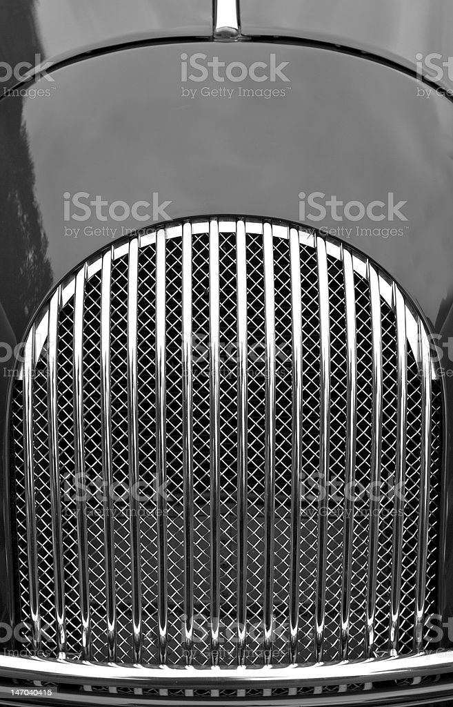 Radiator grille of classsic sports car royalty-free stock photo