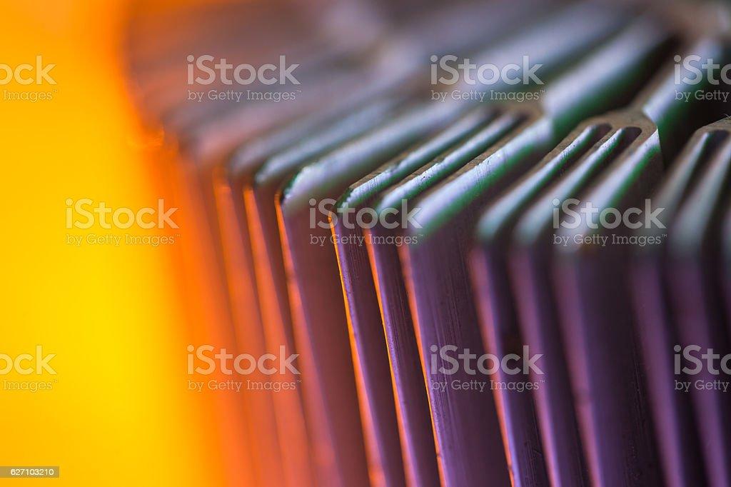 CPU radiator illuminated by light stock photo
