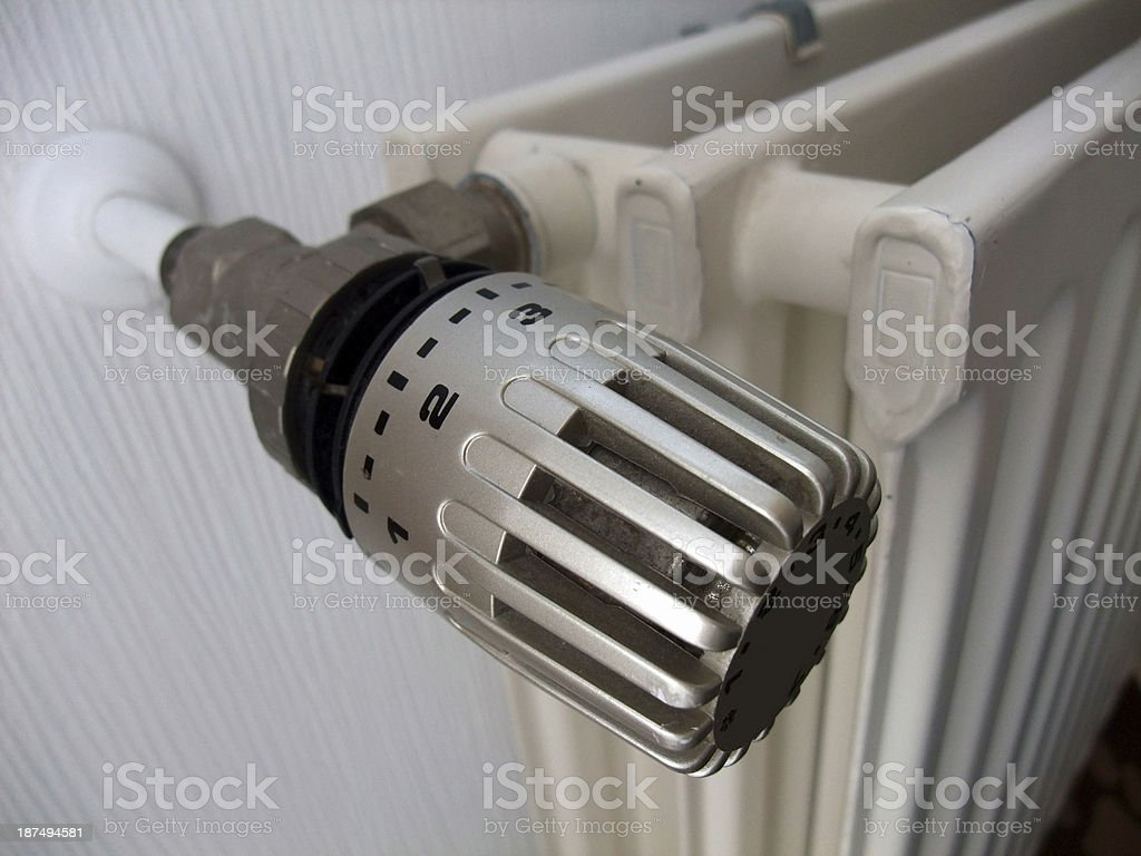 Radiator thermostat stock photo