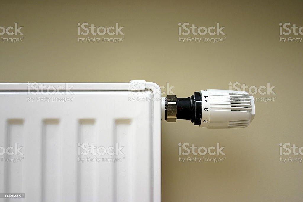 Radiator thermostat set optimal stock photo