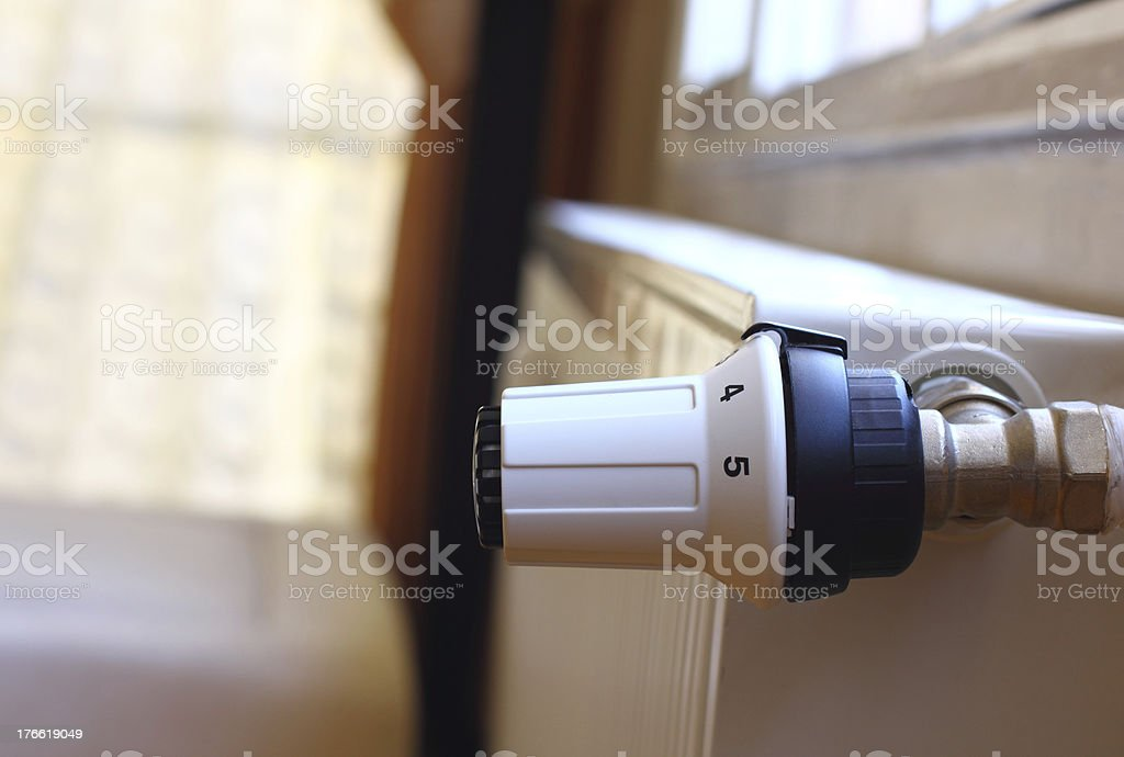 Radiator with thermostat valve royalty-free stock photo