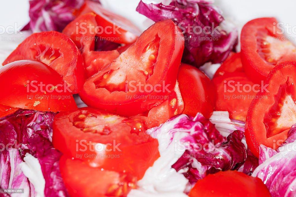 Radicchio and tomatoes. stock photo