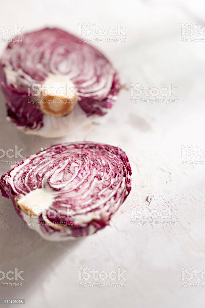 Radicchio lettuce halved stock photo