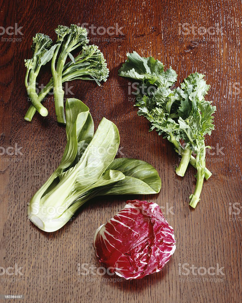 radicchio lettuce with green vegetables stock photo