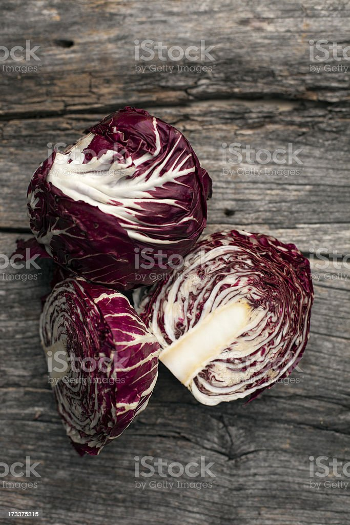 Radicchio on a rustic wooden board royalty-free stock photo