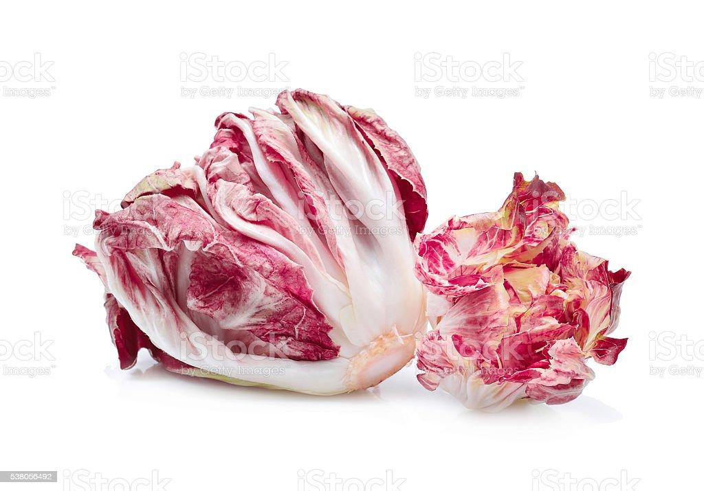 radicchio, red salad isolate on white background stock photo