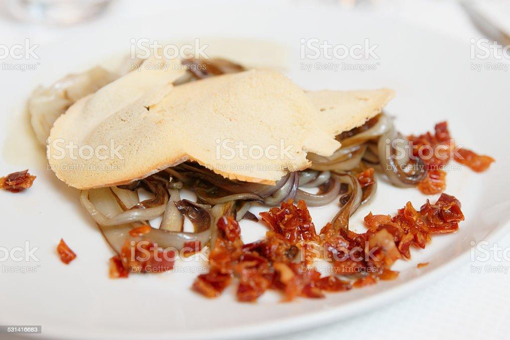 Radiccio salad with bacon stock photo