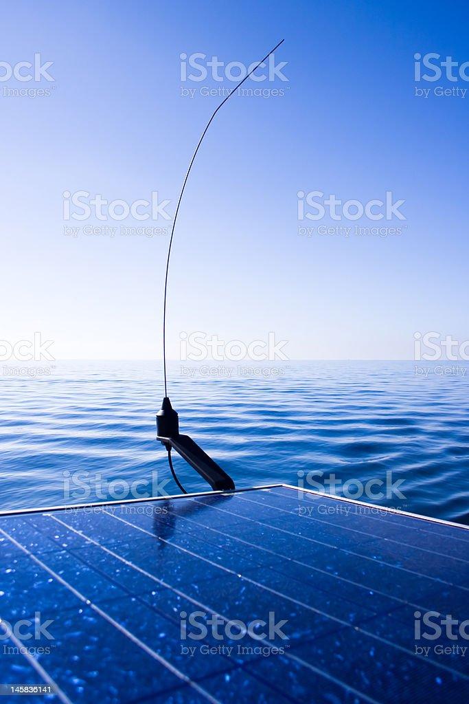 Radio aerial & Solar panel. royalty-free stock photo