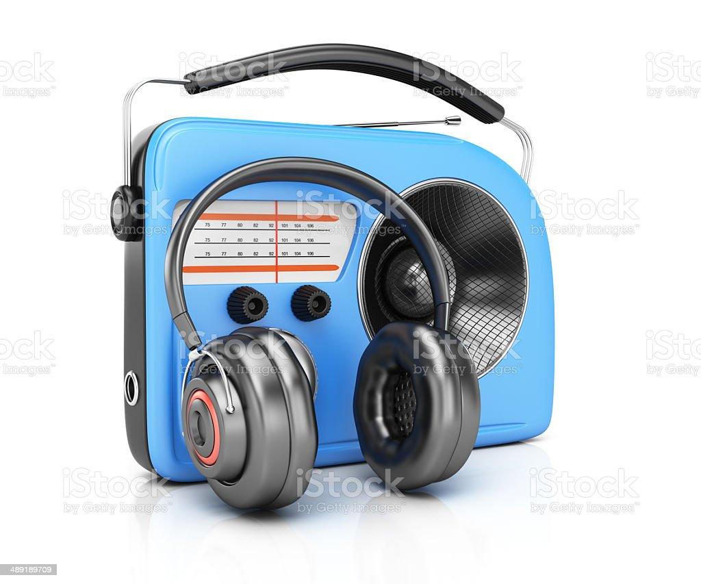 Radio and headphones royalty-free stock photo