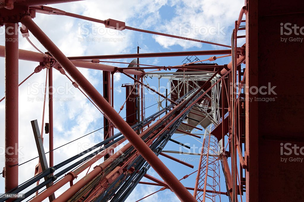 Radio and television broadcasting tower royalty-free stock photo