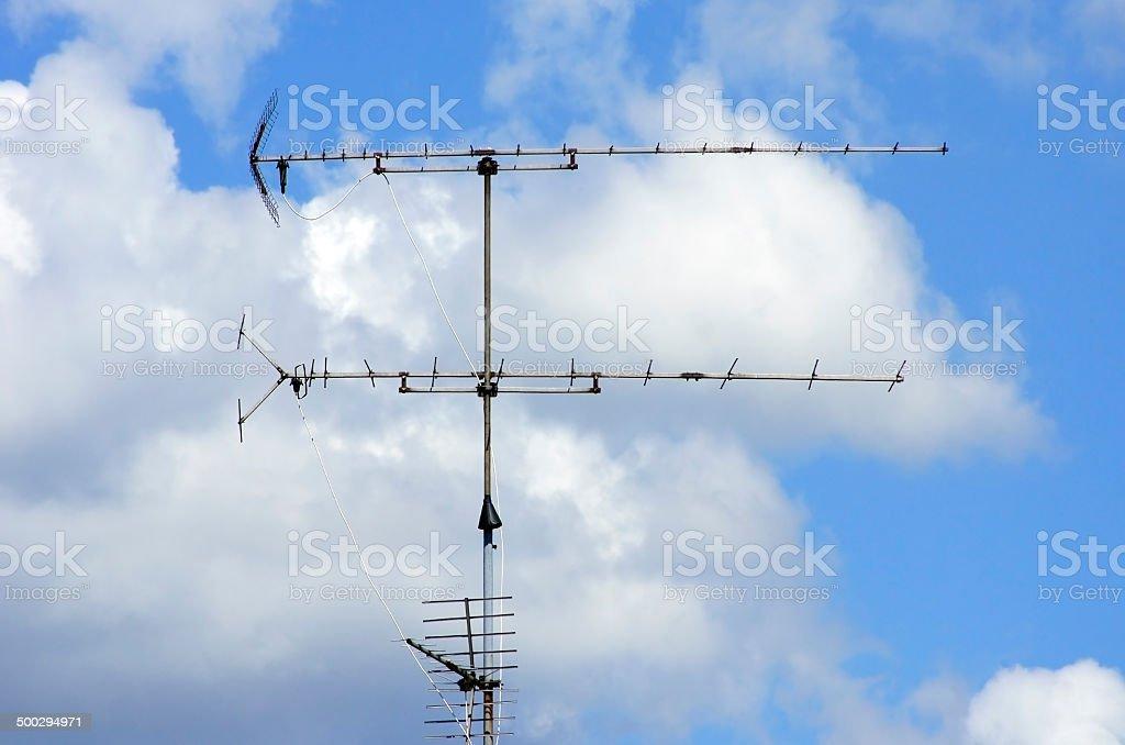 Radio antenna stock photo