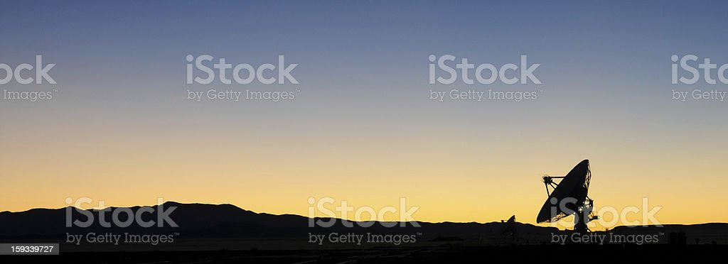 Radio Astronomy Observatory at dusk stock photo