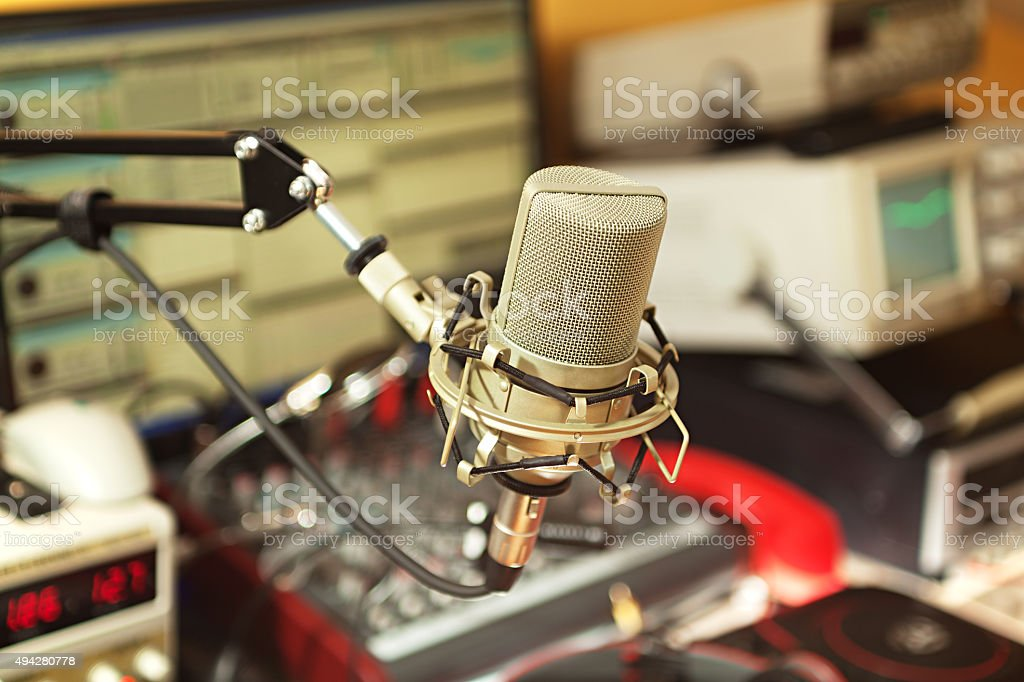 Radio broadcast studio stock photo