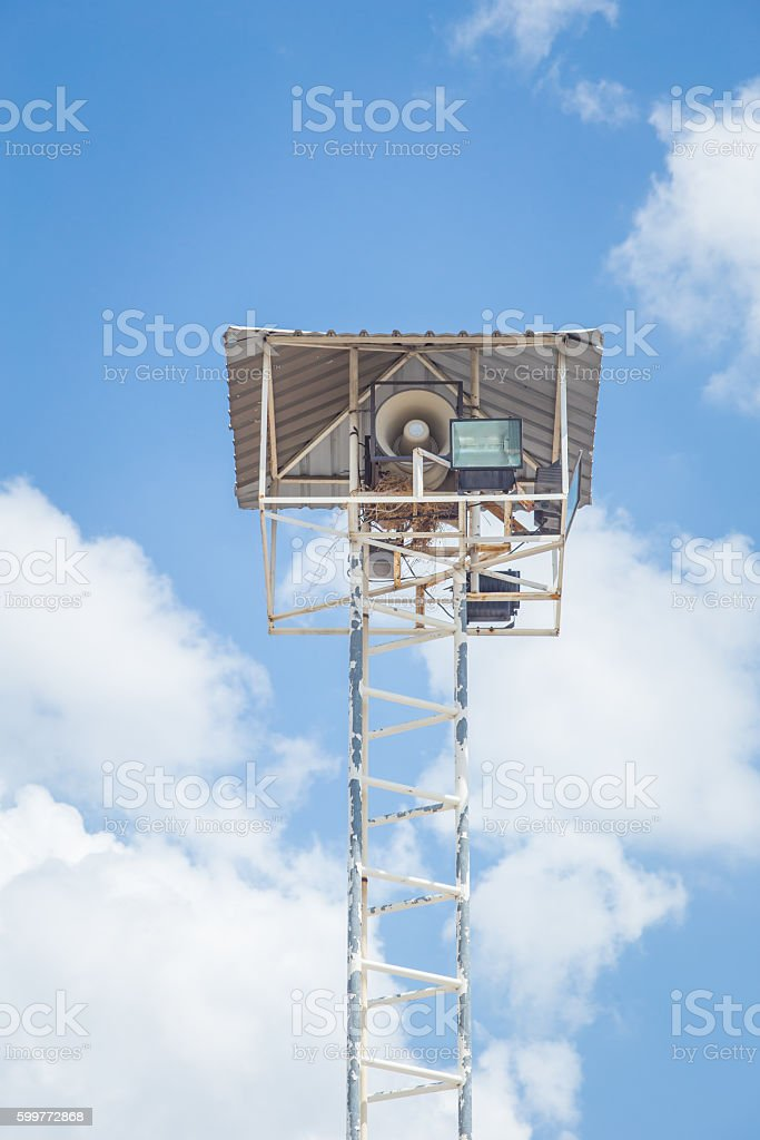 Radio broadcast tower with lighting in Prison. stock photo