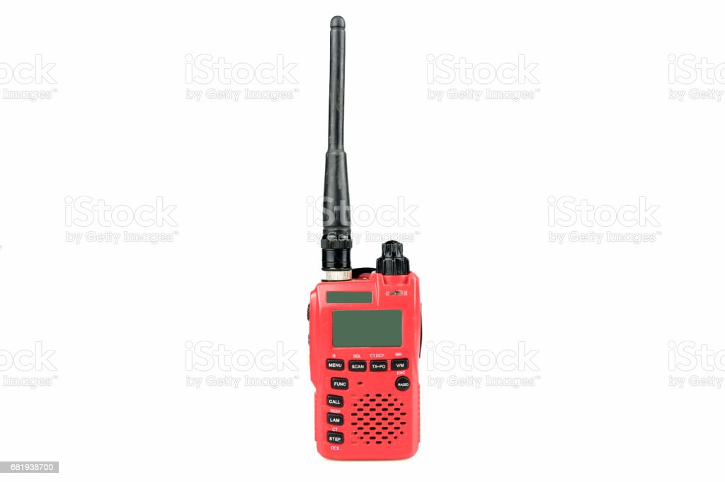 radio communication on white background stock photo