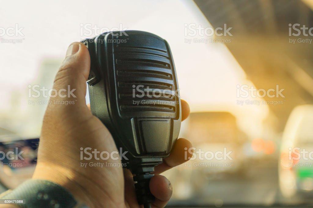 Radio communication service and emergency calls on traffic jam stock photo