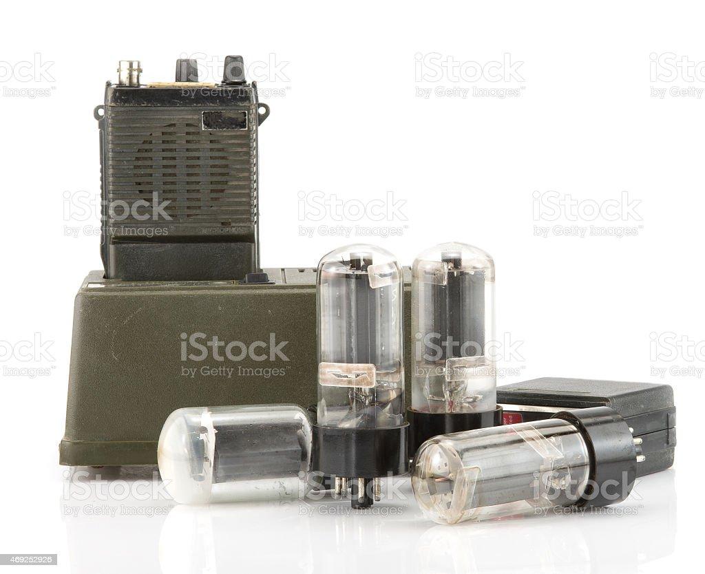 radio communication with electron tube stock photo