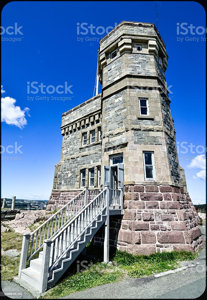 Radio communications tower, Signal Hill, St. John's, Newfoundland, Canada. stock photo