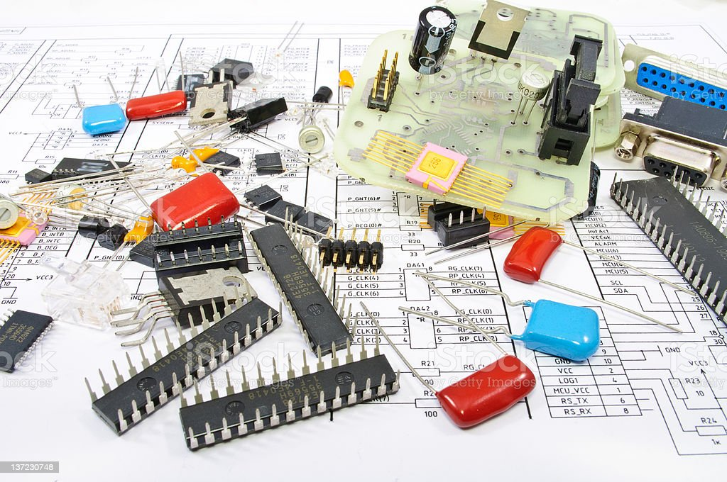 Radio components against electrical circuit royalty-free stock photo