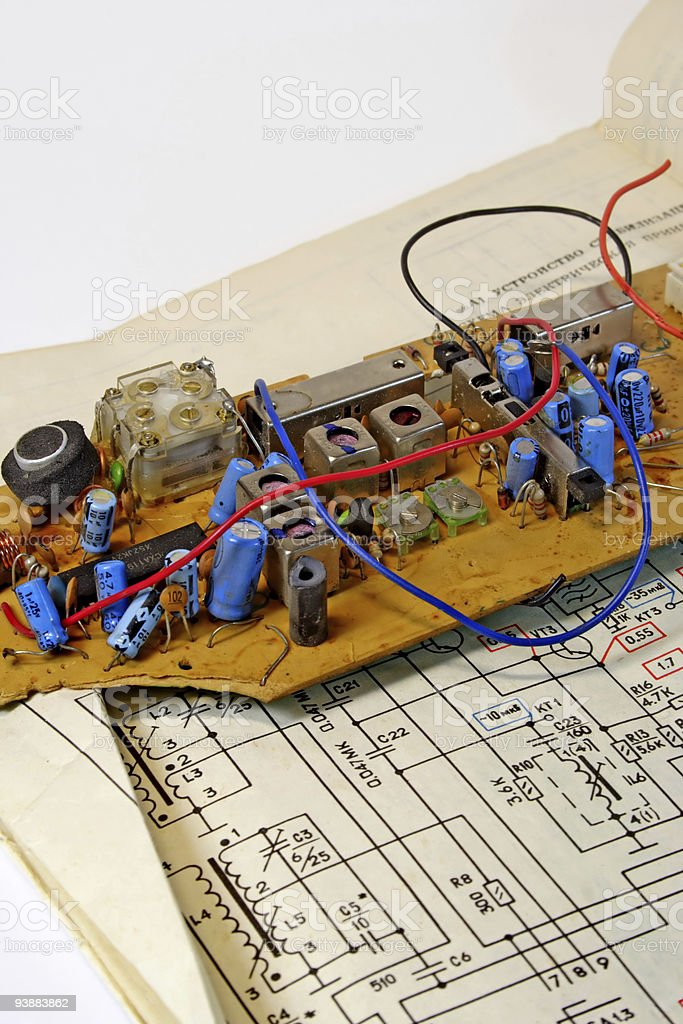 Radio components and the electrocircuit 3. royalty-free stock photo