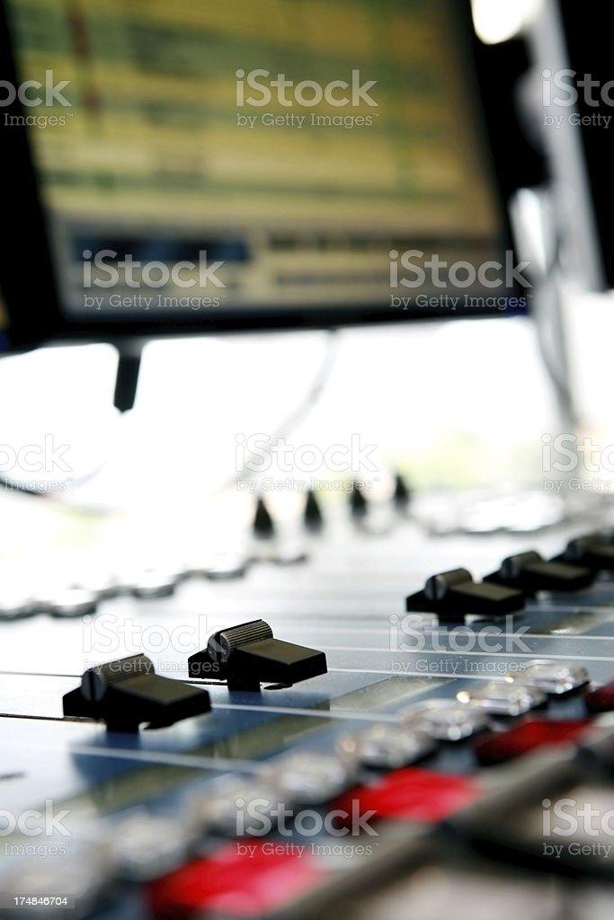 Radio Computer and Mixer System stock photo