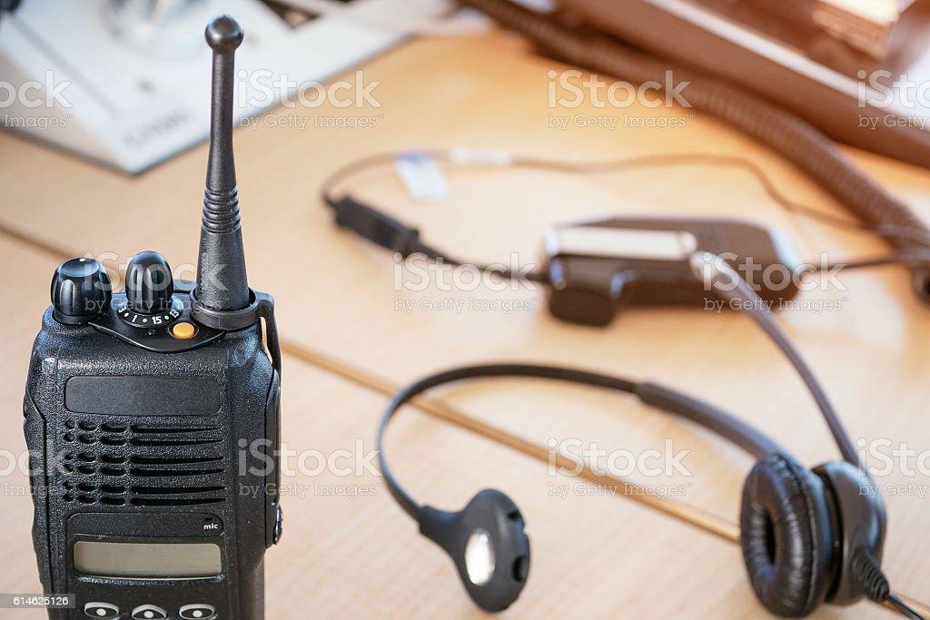 Radio equipment on the console stock photo