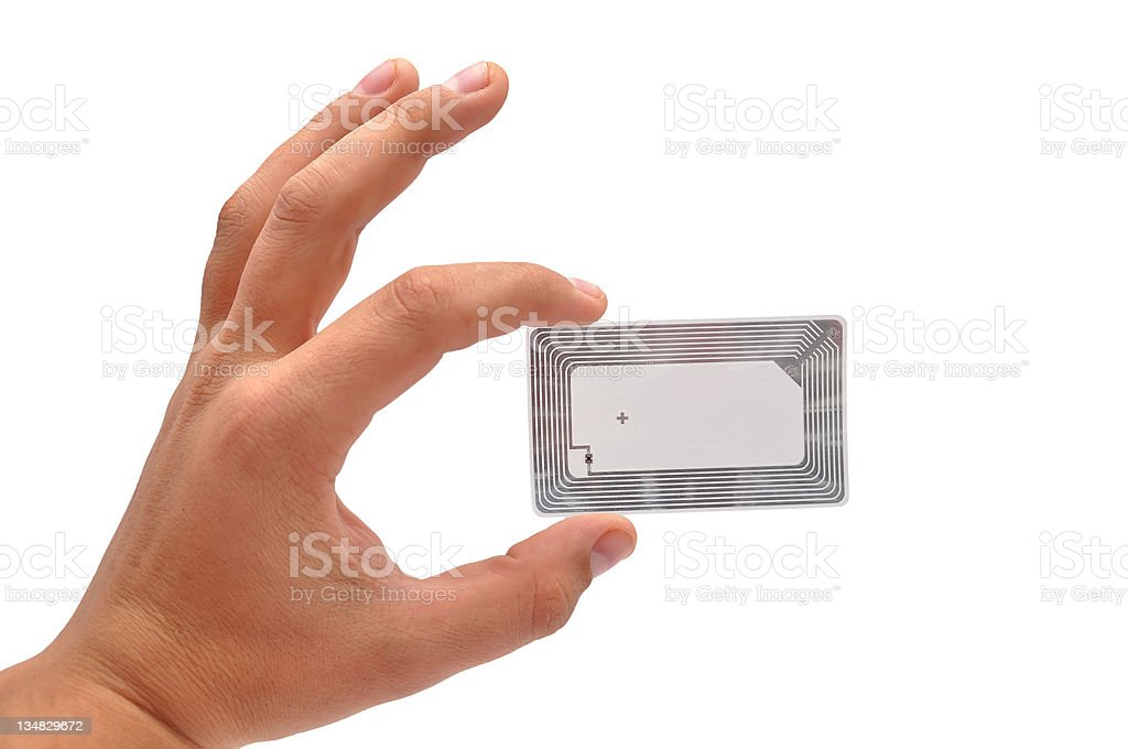 Radio Frequency Identification Tag to receive radio waves stock photo