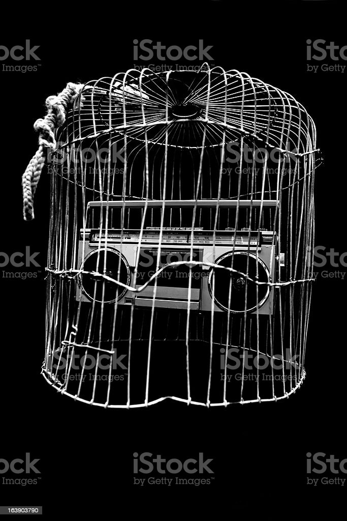 Radio in cage stock photo