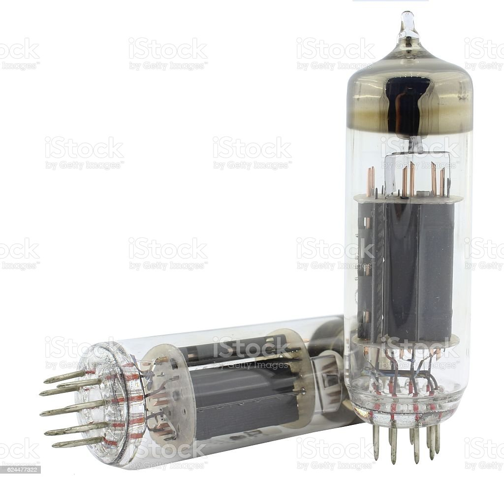 Radio lamp amplifier tubes stock photo