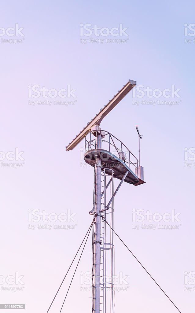 Radio locator at Viewing tower near Southern Pier in Ventspils stock photo