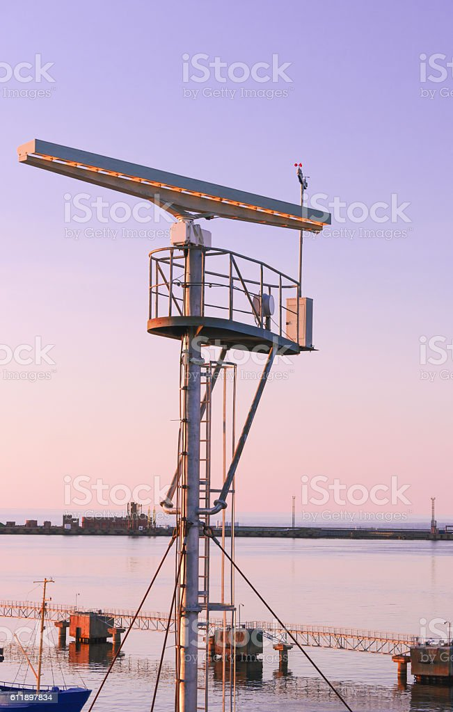 Radio locator at Viewing tower near Southern Pier of Ventspils stock photo