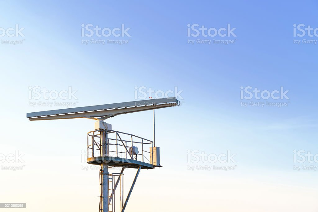 Radio locator near Viewing tower at Southern Pier in Ventspils stock photo