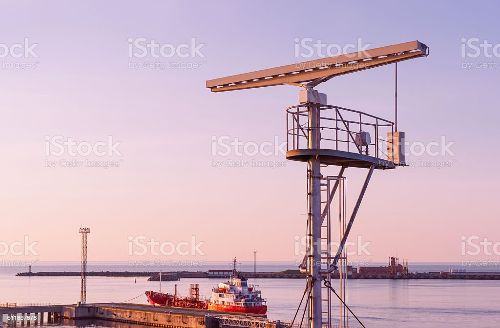 Radio locator near Viewing tower at Southern Pier of Ventspils stock photo