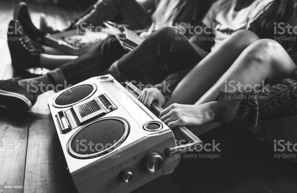 Radio Music Friends Unity Style Teens Casual Concept stock photo