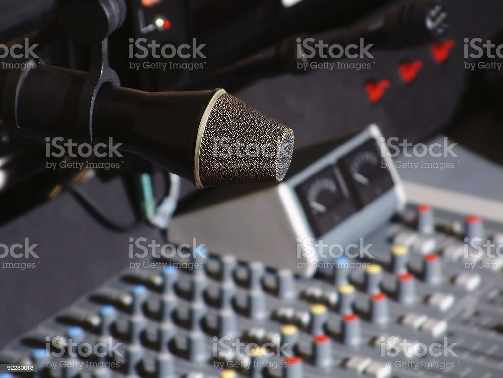 Radio Studio Mic and Mixer stock photo