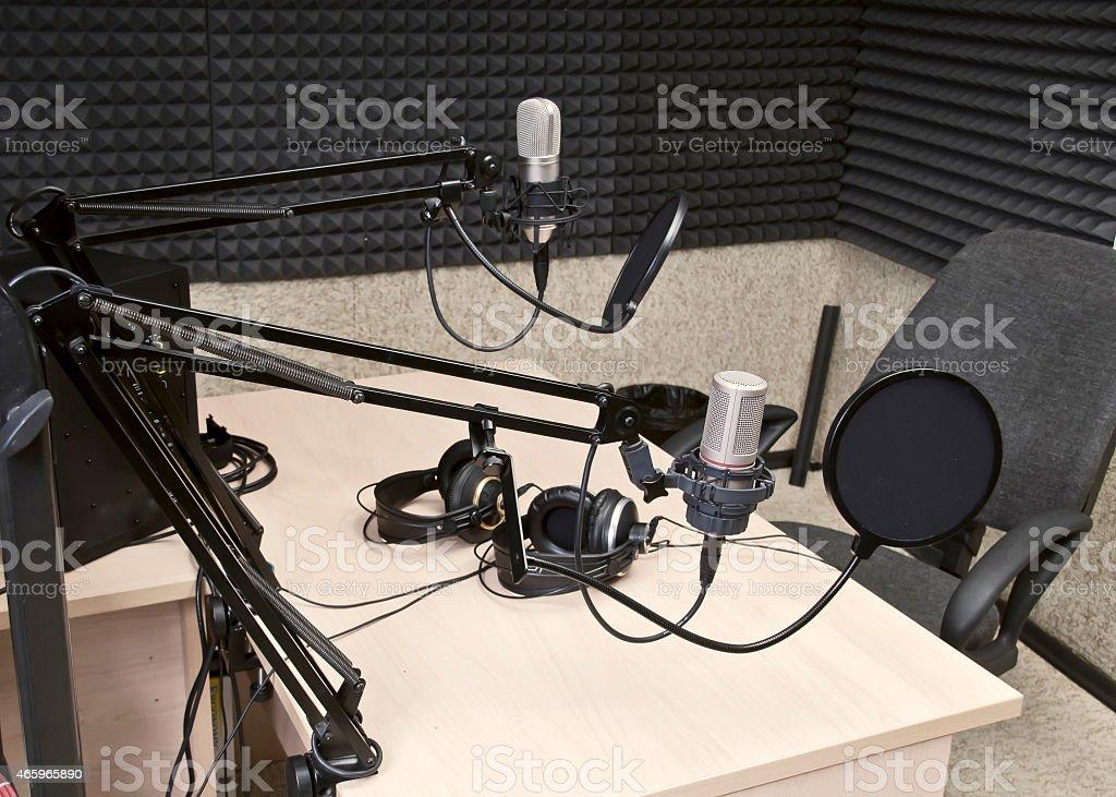 Preparing the news broadcast, radio studio