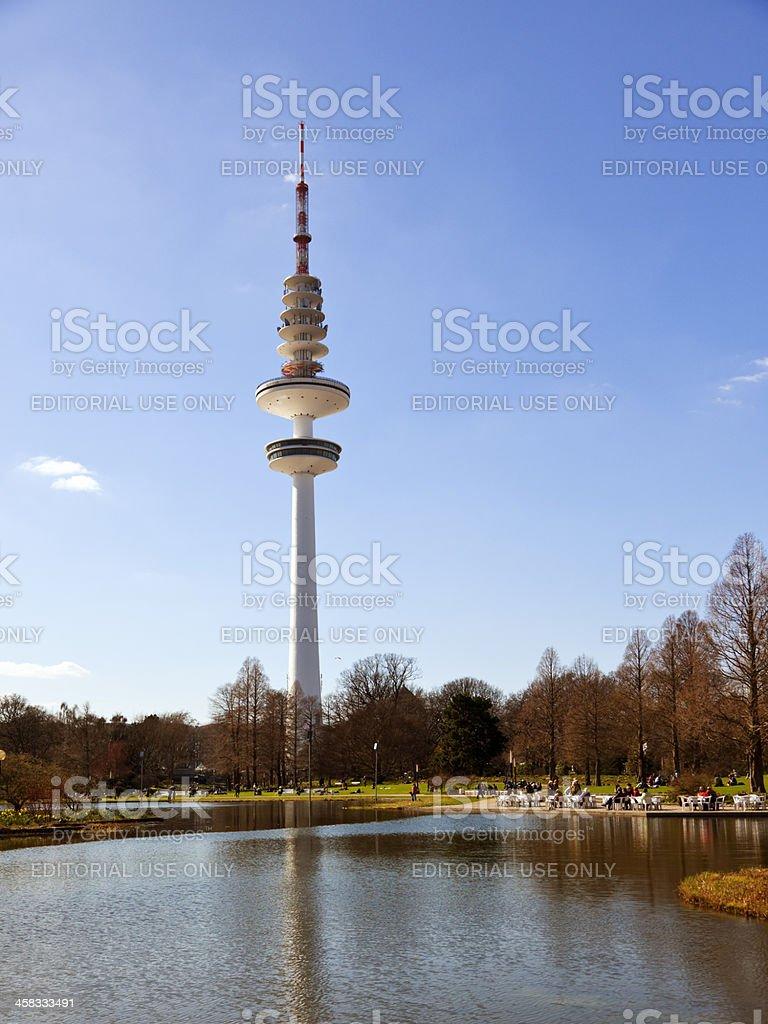 Radio telecommunication tower at Hamburg royalty-free stock photo