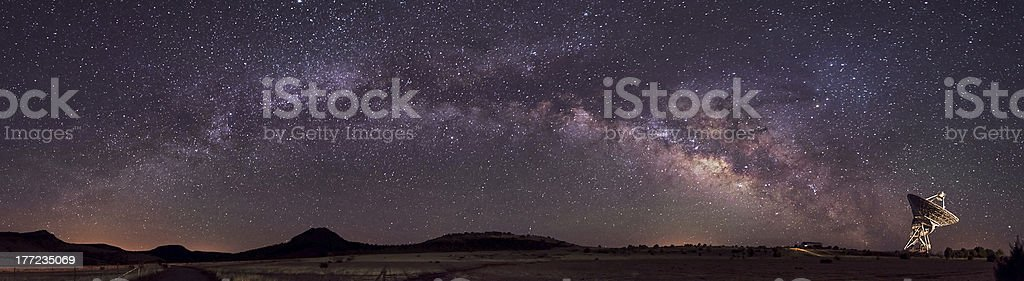 Radio Telescope and Milky Way stock photo