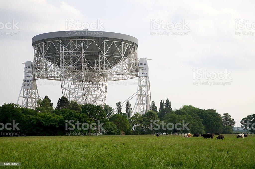 Radio Telescope at Jodrell Bank looming over the fields stock photo