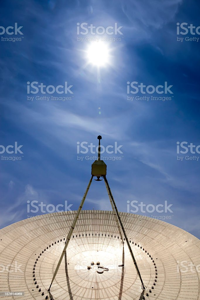 Radio telescope looking at the sun stock photo