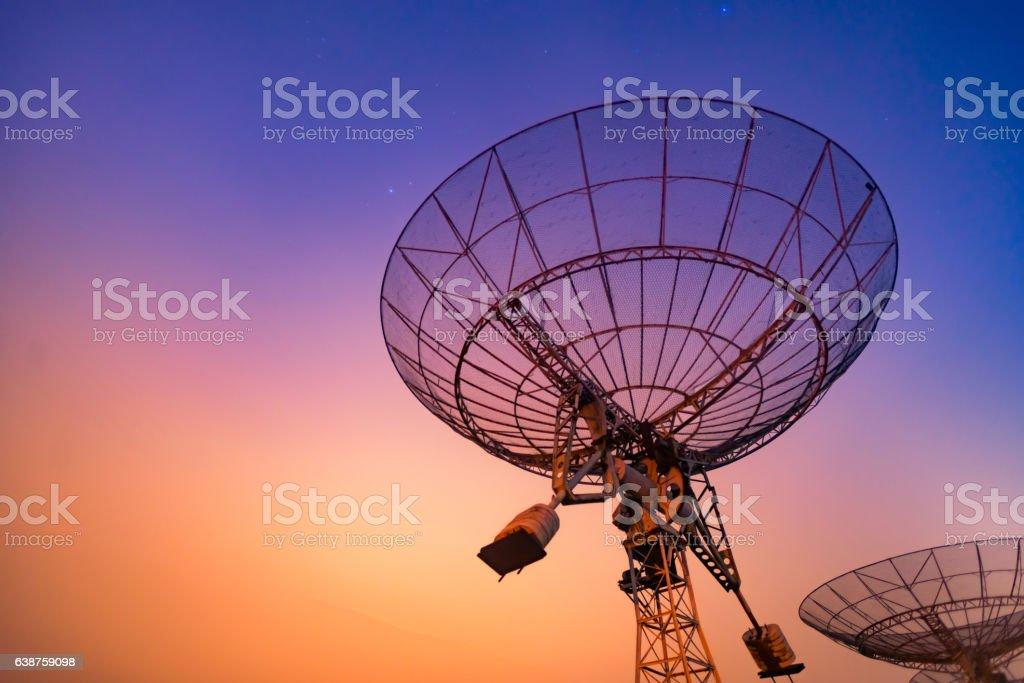 Radio telescope scene at night in China stock photo