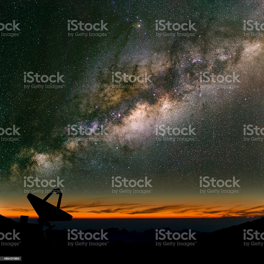 Radio telescope under the Milky Way. stock photo