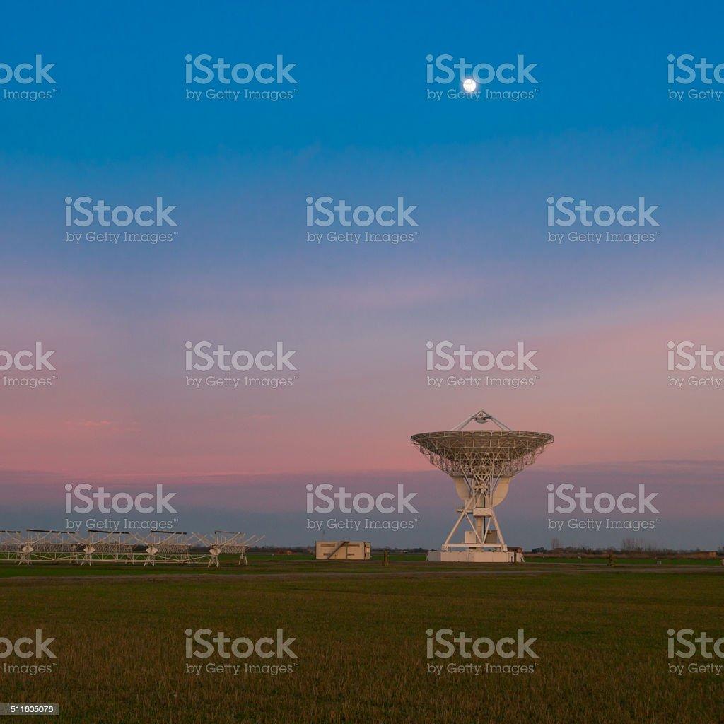 Radio telescope VLA at sunset stock photo