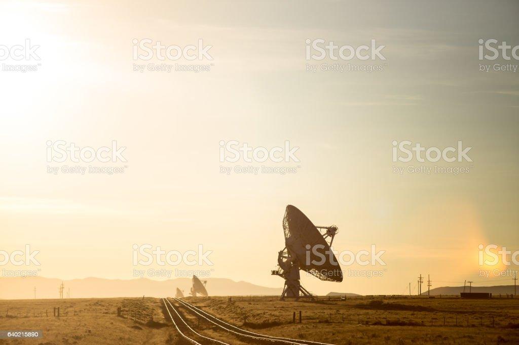 Radio Telescopes of VLA at Sunset stock photo