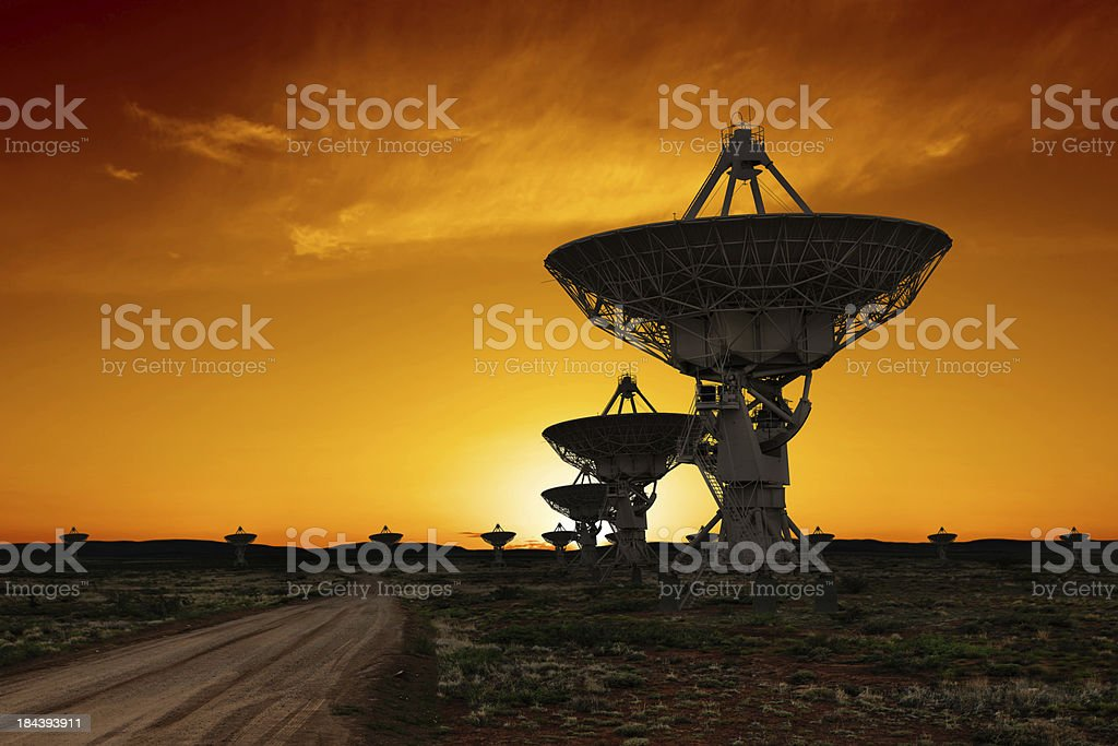 XL radio telescopes sunset stock photo
