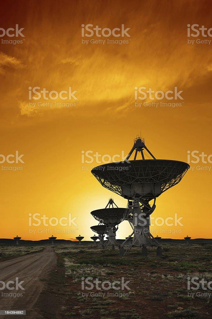 XXL radio telescopes sunset stock photo