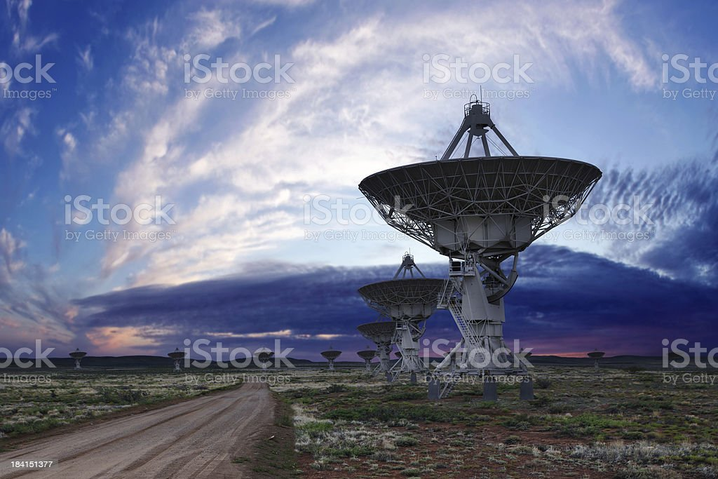 XL radio telescopes twilight stock photo