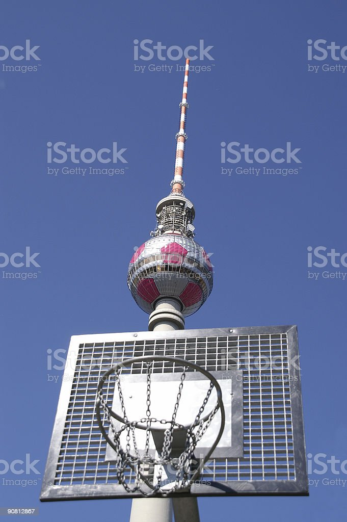 radio tower in basket stock photo