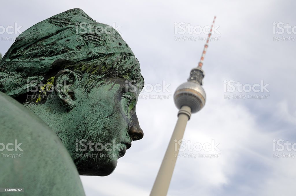 Radio Tower in Berlin with Neptune's fountain stock photo