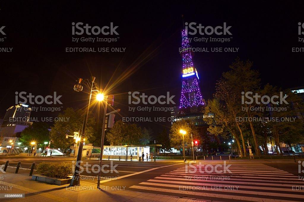 Radio tower in hokkaido stock photo